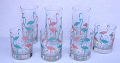 7 VINTAGE LIBBEY RETRO PINK & BLUE FLAMINGO 15oz. & HIGHBALL GLASSES W/ F SHIP!