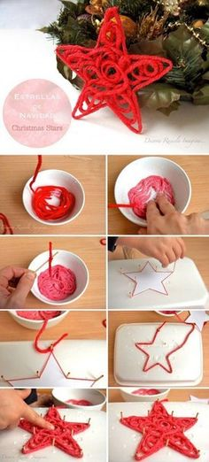 How to make a star. . Mix PVA glue with water in a ratio of 1 to 1. Dip a yarn in this solution and folow the pictures. Have a good Xmas!