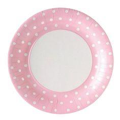 La Fiesta de Olivia | Platos topos rosa grande / 8 uds. | Decoración de fiestas infantiles, bodas y eventos