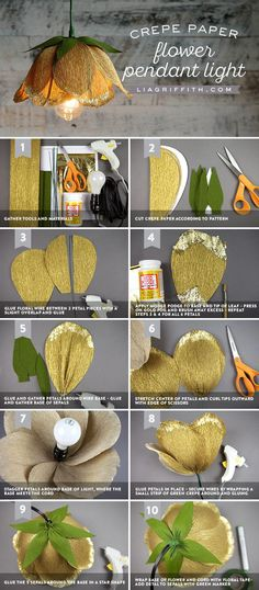 paper flower tutorial Make a Gorgeous DIY Flower Pendant Light with Crepe Paper Blumen Pendelleuchte Tutorial Flower Lamp, Flower Lights, Flower Pendant, Crepe Paper Flowers, Fabric Flowers, Handmade Flowers, Diy Flowers, Flower Diy, Flower Ideas
