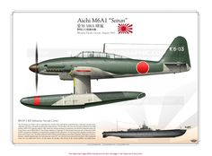 IMPERIAL JAPANESE NAVY (AVIATION) . 大日本帝國海軍 / Aichi 爱知 M6A1 Seiran 晴岚 // IJNAF I-400 Submarine Aircraft Carrier Western Pacific Ocean, August 1945