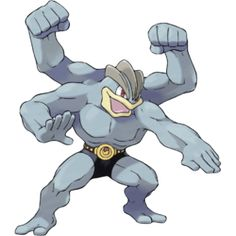 Machamp, Superpower Pokémon. Machamp is a bipedal, humanoid Pokémon with four well-muscled arms. Its skin is bluish gray, and it has red eyes and pale yellow lips. On its head, there are three, brown ridges right above its eyes. It has two arms on each side of its body: a pair located in the normal position, and another pair directly above that attaches on the top of the shoulders.