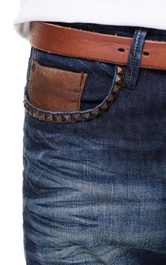 Image 5 of STUDDED JEANS WITH LEATHER COIN POCKET from Zara