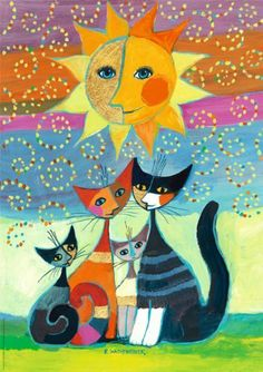 "Wachtmeister, Sun by HV Verlag GmbH. $24.87. Product Type: Glitter/Shimmer/Foil, Jigsaw Puzzle. Age: Adult. Pieces: 1000. Theme: Cats. Artist: Rosina Wachtmeister. Artist Rosina Wachtmeister is a popular contemporary artist with a large and loyal fan base. Her colorful, modern portraits of cats make for vivid and entertaining puzzles. 1000 pieces with exclusive gold and silver foil stamping. Measures approx. 19"" x 27"".Rosina is a well-loved German artist who has a s..."