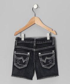 Look at this #zulilyfind! Dark Wash Heart Pocket Shorts - Girls #zulilyfinds