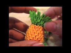 Time lapse of me making my mini origami pineapple Origami Paper Art, 3d Origami, Diy Paper, Paper Crafts, Paper Art Video, Paper Fruit, Kawaii Fruit, Origami For Beginners, Modular Origami