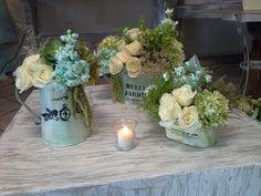 Centros de mesa vintage #vintage #aqua #wedding