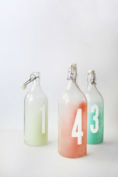 diy watercolor number bottles