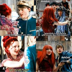 OMG Ben said to Mal next time let me rescue you ok? And said yeah let's not let there be a next time but there is a next time of battle and it always end with Mal rescuing Ben hahaha switch-aro that's adorable the princess saving the King Descendants Mal And Ben, Descendants Pictures, Disney Descendants Dolls, Descendants Cast, Funny Disney Jokes, Disney Memes, Disney Quotes, Disney Princess Memes, Mal And Evie