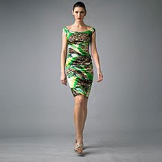 @Overstock - Intersecting swaths of vibrant green and classic cheetah prints color this form-fitting dress from Issue New York. A wide boat neckline, cap sleeves and and ruched design shape this stylish dress.http://www.overstock.com/Clothing-Shoes/Issue-New-York-Womens-Green-Animal-Ruched-Cap-sleeve-Dress/6511011/product.html?CID=214117 $74.39