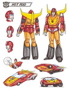 HOT ROD is an all-American-boy Autobot. He is a typical adolescent who dreams of being heroic or important. He tends to follow rules too closely. Although he means well, Hot Rod's impulsive actions often get him into trouble. He carries two photon lasers that temporarily electro-magnetize an enemy robot's microcircuits. Speed 120 mph. Range: 4 miles. He can be hotheaded, but he's always a well-meaning, admirable lad and a brave and honorable fighter. This photo was uploaded by…