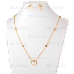 juego collar y aretes de cristal brillo en acero dorado inoxidable - SSNEG503556