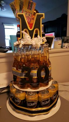 beer and liquor cake, beer and wine cake, wine cake, liquor cake, 21st birthday, fun birthday ideas, adult birthday, bachelor, bachelorette party, groom cake, alcohol cake, girls night, creative birthday gift