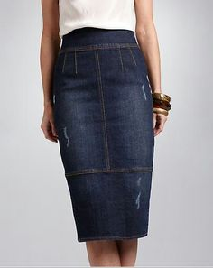 Love this denim pencil skirt.