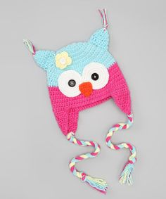 Look what I found on #zulily! Crossroad Pink & Blue Flower Owl Earflap Beanie by Crossroad #zulilyfinds