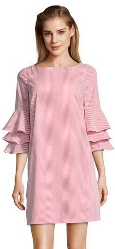 Adrianna Papell | Striped Shift Dress with Ruffled Bell Sleeves