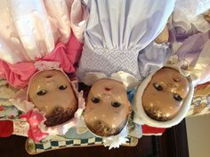 """Ideal's Princess Beatrix (middle) & 2 other vintage composition dolls. They all have """" flirty"""" eyes."""