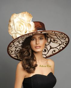 Our 2018 Collection is here. This gorgeous hat is made of Brown dupioni silk and beige taffeta with burnout suede prints, adorned with a large hand painted foam rose. One size fits most. perfect for the derby, luncheon , wedding or any special occasion Sombreros Fascinator, Fascinator Hats, Fascinators, Headpieces, Fancy Hats, Cool Hats, Big Hats, Derby Attire, Derby Day