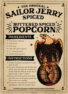 The original Sailor Jerry spiced rum is blended with the finest rums from the Caribbean & our recipe of natural spices. Visit Sailor Jerry to learn more. Rum Recipes, Popcorn Recipes, Cooking Recipes, Candy Recipes, Sailor Jerry Rum, Appetizer Recipes, Snack Recipes, Drink Recipes, Cocktail