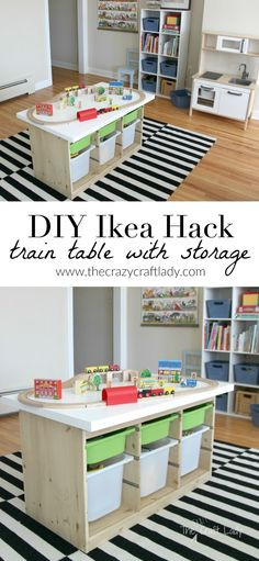 An Ikea Hack custom train and activity table with TONS of storage
