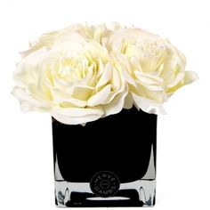 Herve Gambs White Couture Large Roses & Small Black Glass Cube (155 CAD) ❤ liked on Polyvore featuring home, home decor, floral decor, flowers, fillers, plants, decor, silk flower arrangement, handmade home decor and faux flowers