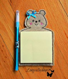 Refrigerator Magnet Teddy Bear Sticky notepad by longvalleybears