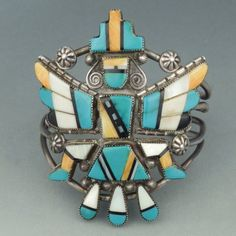 Zuni Inlay Knifewing Bracelet, c.1940's