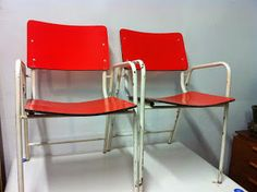 decoración vintage, antiguitats-baraturantic: sillas antiguas de bar años 50
