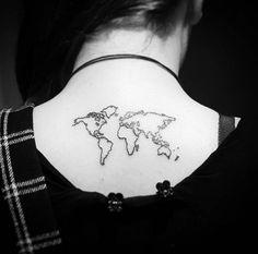 Minimal World Map Tattoo by Fliquet Renouf