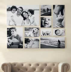 Fotowand selber machen Living room wall design with black and white pictures Picture bar Photo bar BOcean Wall Art, Black andGallery wall obsession. Living Room Wall Designs, House Wall Design, Images Murales, Collage Mural, Collage Ideas, Picture Wall Collage, Family Wall Collage, Family Photo Collages, Canvas Collage