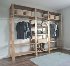 Ana White Build a Industrial Style Wood Slat Closet System with Galvanized Pipes Free and Easy DIY Project and Furniture Plans Wood Closet Shelves, Closet Storage, Closet Organization, Storage Shelves, Cupboard Shelves, Diy Storage, Wood Closet Organizers, Wardrobe Shelving, Cabinet Closet
