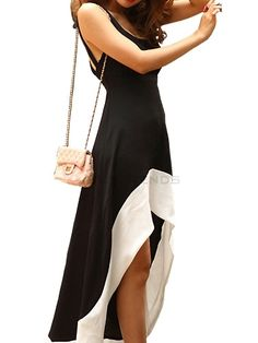 Comfortable Asymmetrical Sleeveless Cut Out Tank Dress Maxi Dress on buytrends.com