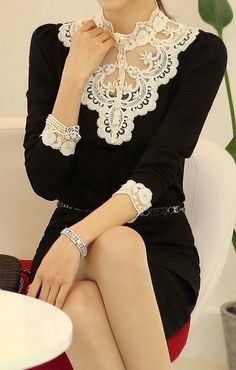 Love the lace:: Black and White Dress:: Lace:: Vintage Style:: Retro Fashion:: Vintage Outifts