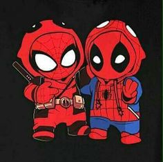 Deadpool & Spider man – – – Graffiti World Cute Disney Drawings, Cute Animal Drawings, Kawaii Drawings, Cute Drawings, Deadpool Fan Art, Deadpool And Spiderman, Deadpool Symbol, Deadpool Quotes, Deadpool Tattoo