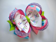 Happy Birthday Hair Bow  Boutique Layered by MommyandMeBoutique8, $8.00