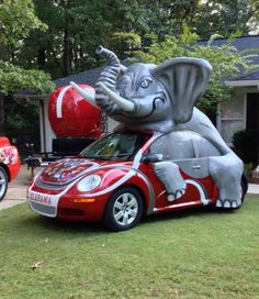 Crimson Tide Volkswagen.  Wow!  This car would be quite the distraction on the road!