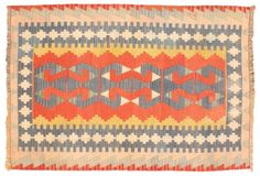 Vintage Bright Mediterranean  Kilim Rug