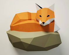 """3D Papercraft Fox wall decor.  DIY amazing Fox on Rock paper model!  It really looks very stylish in the interior, attracts attention, and causes the effect of """"WOW!""""  Now imagine the faces of your friends when you tell them that you did it with YOUR OWN HANDS :))  You are buying the instructions & templates only, not the physical model.  The templates are supplied as 12 page PDF and that is available as an instant download. Just print the templates full size on A3 paper, cut th..."""