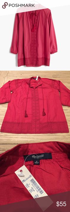 New Madewell S embroidered camellia tassel top New Madewell S embroidered camellia tassel top.  Added last picture so you can see how it fits. Size small. New with tags.  Beautiful detail. Madewell Tops Blouses