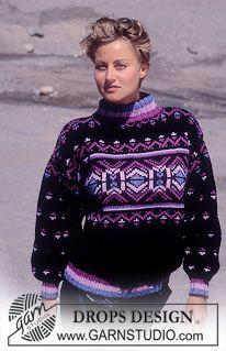 "DROPS jumper with pattern borders in ""Alaska"". Knitting Stiches, Sweater Knitting Patterns, Free Knitting, Crochet Patterns, Drops Design, Lucy Fashion, Retro Fashion, Magazine Drops, Knitwear"