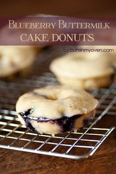 GLAZED BLUEBERRY DONUTS (YIELD: 6 DONUTS)==For the donuts==  1 c flour, 1/3 c white sugar, 1 t baking powder, 1/8 t ground nutmeg, 1/8 t ground cinnamon, 1/2 t salt, 1/3 c buttermilk (or regular milk with a t of white vinegar added), 1 egg, 1 t vanilla, 1 1/2 t oil, 1/2 c fresh or frozen blueberries ==For the glaze== 1 1/2 c powdered sugar, 1/4 c milk or water, 1 t vanilla====