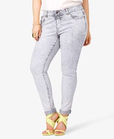 Railroad Stripe Acid Wash Skinny  Jeans    $24.80