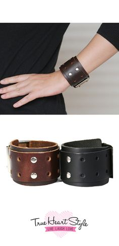 Single Buckle Chunky Leather Cuff with Decorative Holes and Metal Studs. Buckle Closure.