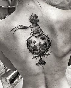 Seductive and simple tattoo on back. Little prince sits alone in a world full of people, and longs for what really means to him – his rose!