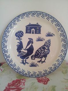 So beautiful!   Emma Bridgewater blue hens cake plate.