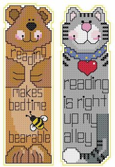 cat and bear book mark -- good ideas for the Embroidery chapter bookmarks for literacy project.
