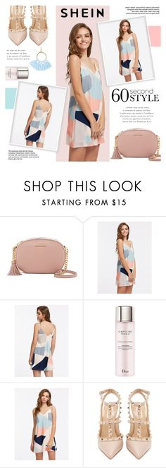 """""""Shein: Color Block Cami Dress"""" by viebunny ❤ liked on Polyvore featuring MICHAEL Michael Kors, Christian Dior, WithChic, Valentino, Taolei, dress, colorblock and shein"""