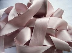 Pure Silk Satin  Ribbon  Blush/Bisque Color 1 by silkribbons4you, $9.99