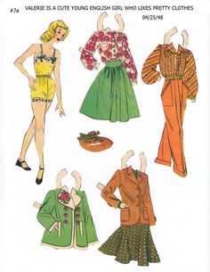 """VALERIE 25 April 1948 Lucy Eleanor Leary's """"BOSTON SUNDAY POST"""" Newspaper Paper Dolls 1940s & 1950s  1 of 2"""