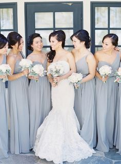 Dusty Blue Bridesmaids | photography by http://thegreatromancephoto.com/